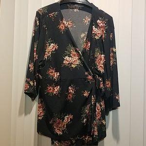 Meraki Floral Wrap Blouse Top Size 3x Navy Plus